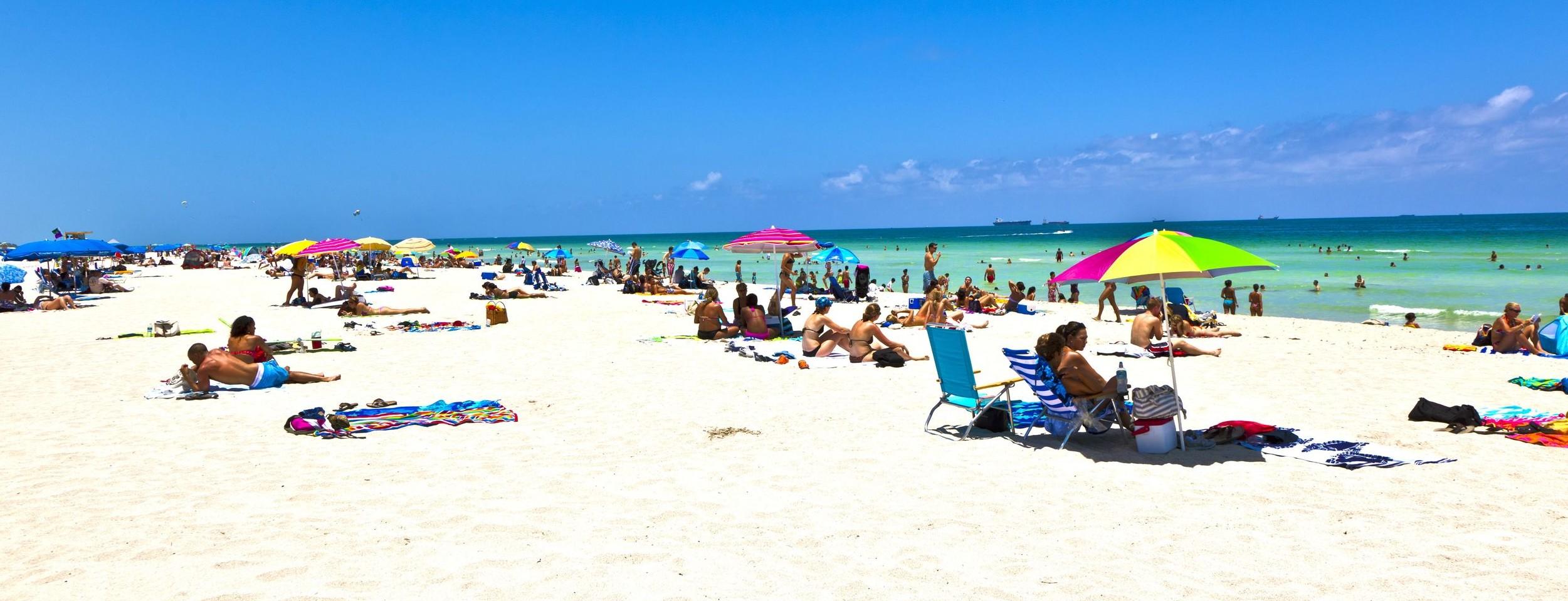 Miami Beach with umbrellas